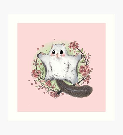 Flying Squirrel with Cherry Blossom Art Print