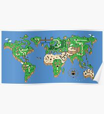 Super Mario Bros Stil Earth Map Poster