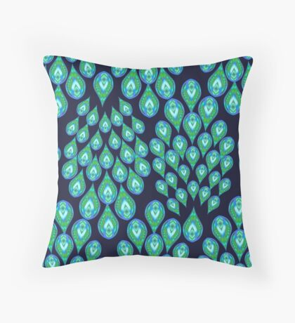 NAVY PEACOCK 111 ALL OVER PRINT Throw Pillow