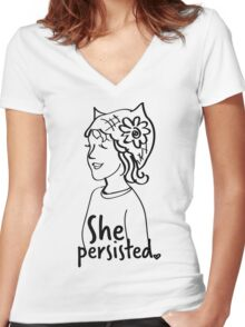 She Persisted-Text and Image Women's Fitted V-Neck T-Shirt