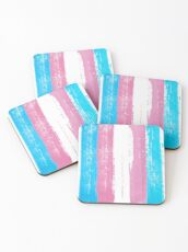 Trans Pride Flag Stripes Coasters