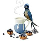 White tea, blueberry tarts, and a treeswift by Kristen Bernabe