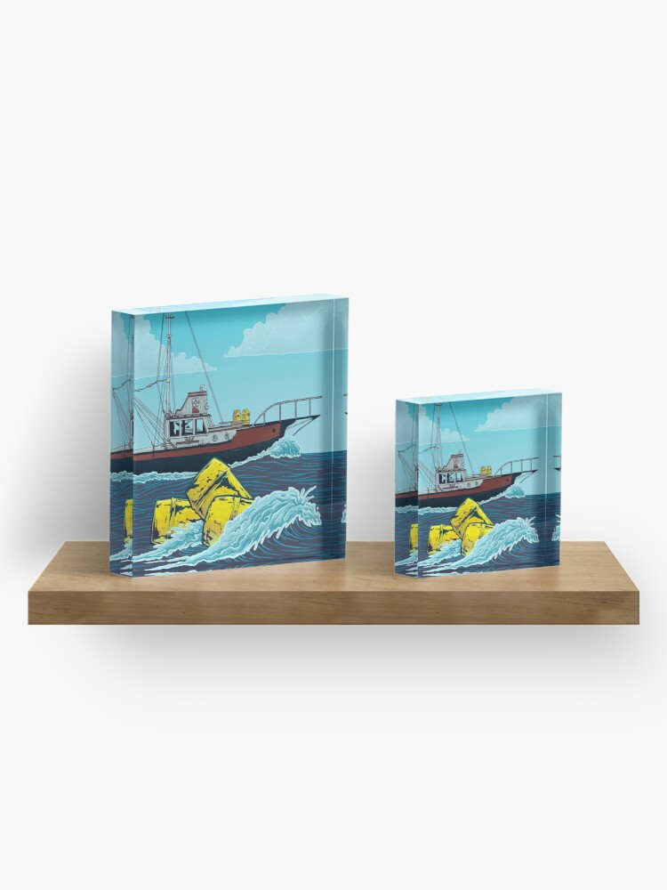 Alternate view of Jaws: The Orca Illustration Acrylic Block