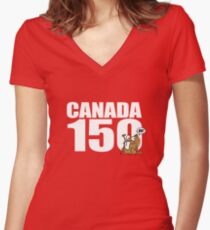 Canada 150 Years! Let's Celebrate! Women's Fitted V-Neck T-Shirt