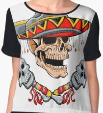 Skull Mexican style with sombrero and maracas Chiffon Top