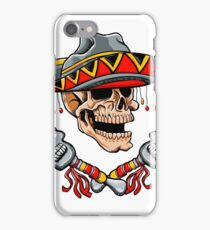 Skull Mexican style with sombrero and maracas iPhone Case/Skin