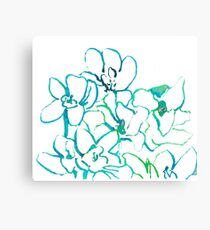 Abstract Orchids Blue Green Canvas Print