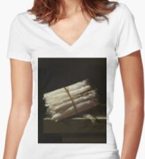 Adriaen Coorte - Still Life With Asparagus, 1697 Women's Fitted V-Neck T-Shirt