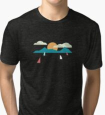 Mountains and Sea Boats Tri-blend T-Shirt