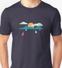Mountains and Sea Boats Unisex T-Shirt