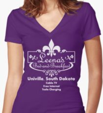 Leena's Bed and Breakfast Women's Fitted V-Neck T-Shirt