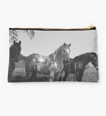 Horses black and white  Studio Pouch
