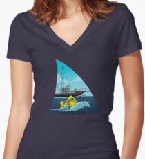 Jaws: The Orca Women's Fitted V-Neck T-Shirt