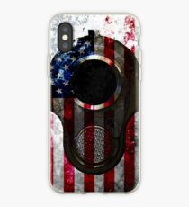 M1911 Colt 45 Muzzle And American Flag On Distressed Metal Sheet iPhone Case