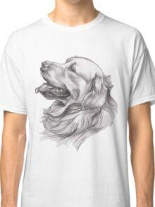 Golden Retriever Dog Portrait Drawing Classic T-Shirt
