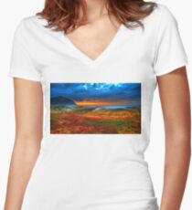 Beautiful Landscape - Sunset, Flower, Sea - Orange, Red, Green Women's Fitted V-Neck T-Shirt