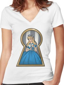 Through The Key Hole Women's Fitted V-Neck T-Shirt