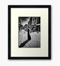 The Woman Her Phone and Diagonal Shadow Framed Print
