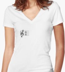 4/4 Common Time Music + Treble Clef Women's Fitted V-Neck T-Shirt