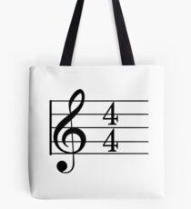 4/4 Common Time Music + Treble Clef Tote Bag