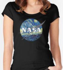 Nasa Logo Van Gogh  Women's Fitted Scoop T-Shirt