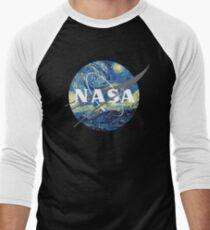 Nasa Logo Van Gogh  Men's Baseball ¾ T-Shirt