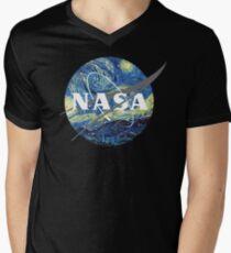 Nasa Logo Van Gogh  Men's V-Neck T-Shirt