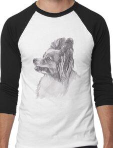 Classic Papillon Dog Profile Drawing Men's Baseball ¾ T-Shirt