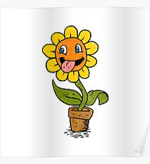 smiling flower cartoon Poster