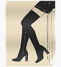 Simply sexy, thigh high shoes and mini skirt Poster
