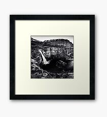 Waterfall Black and White Palouse Falls State Park Washington Nature Landscapes Wall Tapestry Framed Print