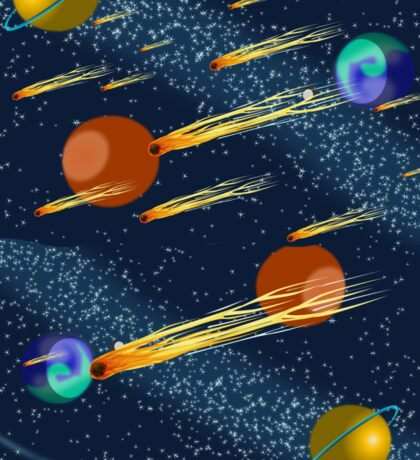 Outer Space Scene, Complete With Meteors, Comets and Planets. Sticker