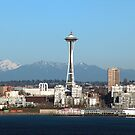 Beautiful Picture of Seattle Space Needle With Mt. Rainier  by MsLiz