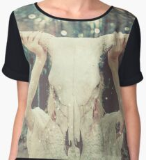 Spirit Quest - Tribal Bull Animal Mask Chiffon Top