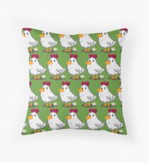 Pixel Chickens Throw Pillow