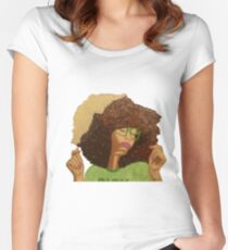 """Baduisms"" Acrylic Colorful Textured Painting Women's Fitted Scoop T-Shirt"