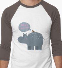 Best friends hippo and bird Men's Baseball ¾ T-Shirt