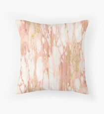 Rose Gold Marble - Rose Gold Yellow Gold Shimmery Metallic Marble Throw Pillow