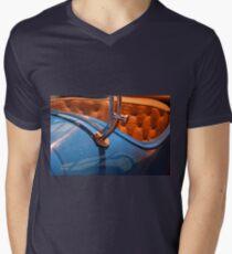 Interior of vintage blue car Mens V-Neck T-Shirt