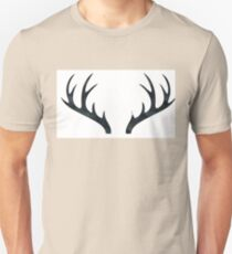 Antlers - Rustic Decor Black and White Deer Antlers Unisex T-Shirt