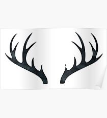 Antlers - Rustic Decor Black and White Deer Antlers Poster