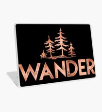 WANDER Rose Gold Trees in the Forest Quote Text Laptop Skin