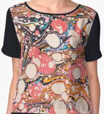 Psychedelic Retro Marbled Paper Pepe Psyche Chiffon Top