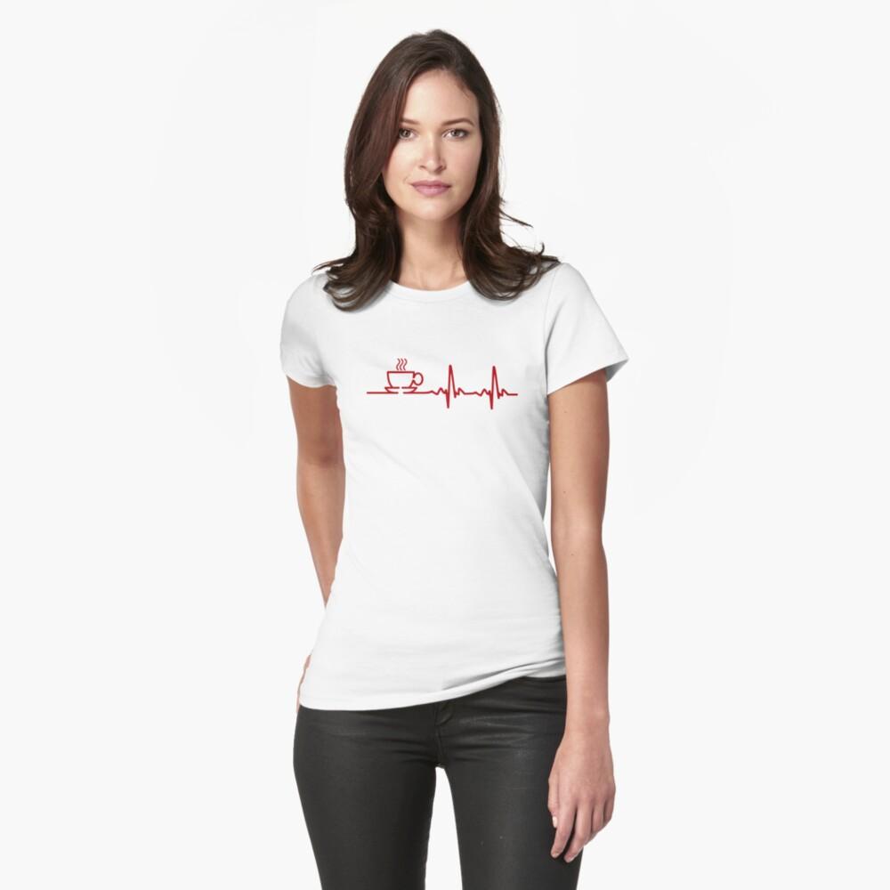 Morning Coffee Heartbeat EKG Womens T-Shirt Front