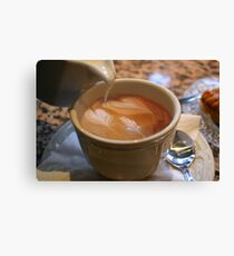hearts in my coffee Canvas Print