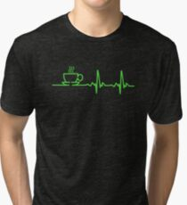 Morning Coffee Heartbeat EKG Tri-blend T-Shirt