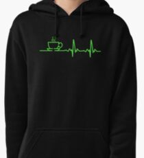 Morning Coffee Heartbeat EKG Pullover Hoodie
