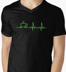 Morning Coffee Heartbeat EKG Men's V-Neck T-Shirt
