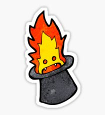 cartoon magic flaming top hat Sticker