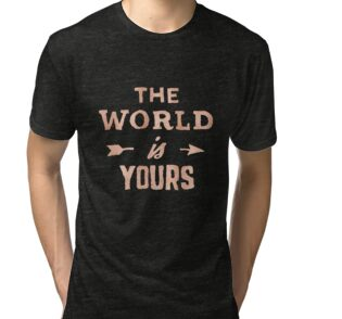 dd3a2eb8 THE WORLD IS YOURS - Rose Gold Pink Inspirational Adventure Quote ...